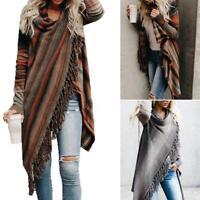 Women Irregular Tassel Cardigan Sweater Poncho Shawl Coat Tops Outwear oversize