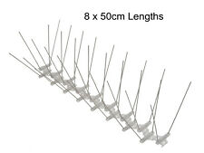 Bird Pigeon Spikes, 2 rows, 50 cm Base Length Stainless Steel Pigeon Spikes x 8