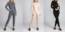 Womens Bodysuit High Neck Long Sleeve Jumpsuit Playsuit Unitard Bodycon Romper
