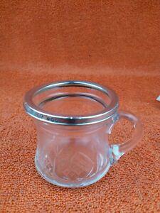 Antique Sterling Silver Hallmarked  Cut Glass Cup Mug 1932, Walter Gardener