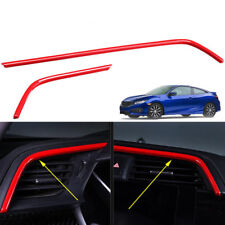 2x Red Air Outlet Frame Cover Trim For Honda Civic 10th 2016-2018 Useful Hot ABS