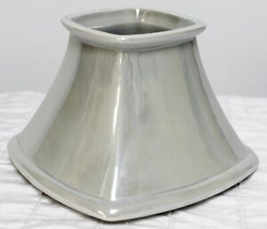 Yankee Candle Grey Pearlescent Lg Shade Square Iridescent Silver