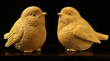 LS007ca - 5x6x4.2 CM Carved Boxwood Carving Figurine : Pair of Birds