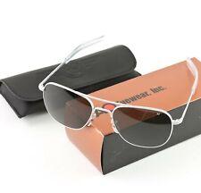 AO American Optical Aviator Matte Chrome Frames 57 mm Sunglasses Gray Lens