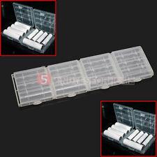 4x Contenitore Holder Custodia per Porta AA AAA Batterie Ricaricabili Bianco