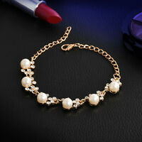 Casual Crystal Gem Gold Plated Pearl Bracelet Chain Cuff Bangle Women's Jewelry