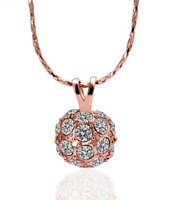 Crystal 18K Rose Gold GP Shamballa Pendant Necklace N109