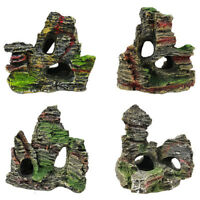 1X Mountain View Aquarium Rock Cave Ornament Tree Bridge Fish Tank Rockery Decor