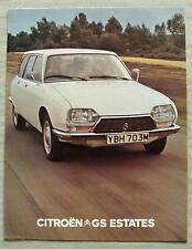 CITROEN GS ESTATES Car Sales Brochure c1974 GS1220 Confort & GS1220 Club