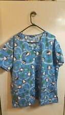 Zikit Blue Penguin Christmas Holiday Scrub Top Shirt Plus Size 3X