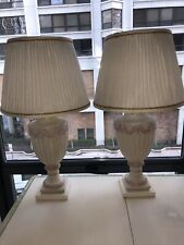 Shabby Chic Table Lamps Set of 2 White Washed with Pink Urn Living Room Bedroom