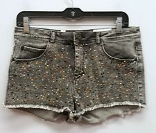 PULL & BEAR URBAN OUTFITTERS Size 40 EU Gray Wash Studded Frayed Hem Jean Shorts
