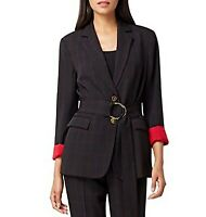 Tahari ASL Womens Black Red Collared Two Button Belted Blazer Jacket Size 8P