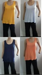 Ladies M&S Slub Vest Top Relaxed Fit Sleeveless Yellow Navy Peach Blue SIze 8-24