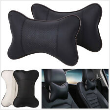 2 Pcs Soft PU Leather Car Off-Road Seats Headrest Neck Pillow Cushion Breathable