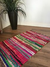 ❤️SHABBY CHIC RAG RUG MULTI COLOURED WITH FRINGED EDGES 40cm x 60cm FAIR TRADE
