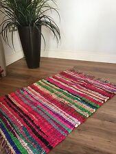 ❤️SHABBY CHIC RAG RUG MULTI COLOURED WITH FRINGED EDGES 40cm x 60cm FAIR TRADE
