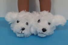 White Puppy Slippers Doll Shoes For 14 American Girl Wellie Wisher Wishers (Debs
