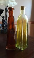 """Thin Modern Shapes 2 Colored Glass Bottles Bud Vases with Corks 7"""" Tall"""