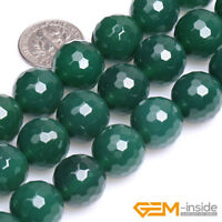 """Natural Green Agate Gemstone Faceted Round Beads For Jewelry Making Strand 15 """""""