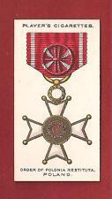 Order of POLONIA RESTITUTA Poland Medal Decoration  1927 original print card