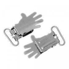 5 Hand Clips 4,3x2,3cm silber Schnullerkettenclip Hosenträger Handform Klemme