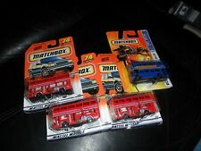 4 LOT MATCHBOX  2007 ROUTEMASTER BUS #34 BLUE MBX METAL & #74 RED LONDON BUS