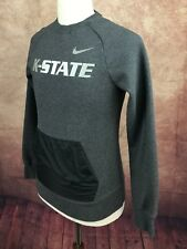 Nike NCAA K-State Nylon Kangaroo Pocket Crewneck Sweatshirt Gray Heather Men's S