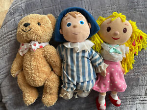 """Andy Pandy, Looby Loo + Teddy 14"""" Soft Toy Bundle - Vintage"""