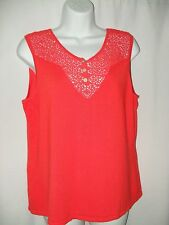 CABLE  & GAUGE Red Orange Sleeveless Knit Crochet Trim Top Size XL