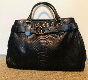 Gucci Black Python XL GG Running Tote Bag