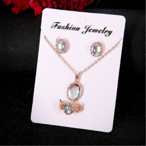 4PCS Elegant Women Rose Gold Crystal Necklace Ring Earring Jewelry Gift Sets