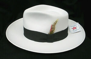 Men's White Fedora Zoot Hat with Black Band & Feather 100% Wool Small (6 7/8)