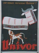 """""""UNIVOR"""" Affiche originale entoilée  Litho André ROLAND  fin 50  61x82cm"""