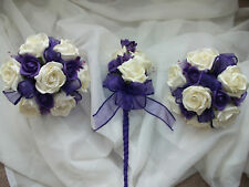 WEDDING FLOWERS. CADBURY PURPLE & IVORY BRIDESMAIDS X 3