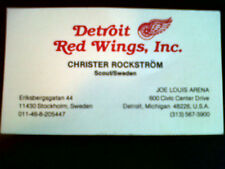 1980's Detroit Red Wings Scout Business Card Christer Rockstrom