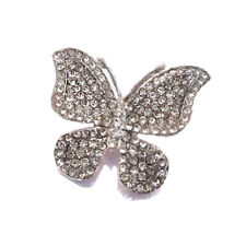 Vintage Silver Diamante Shiny Butterfly Corsage Wedding Brooch Pin BR189