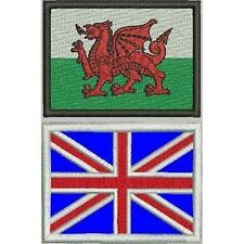 [Patch] BANDIERE GALLES E INGHILTERRA cm 7 x 5 toppa ricamata WALES AND UK -385
