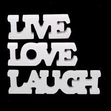 Standing White Wooden Live Laugh Love Letters Sign Plaque Decoration
