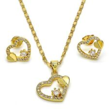 18K GOLD OVER STERLING SILVER BEAUTIFUL HEART SET !!!