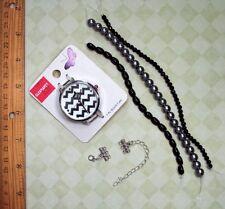 Great Watch Kit. Black & Dk. Gray Glass Bead Strands, 3-Strand connectors DIY