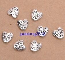 20pcs Tibetan Silver Charm Double Sided Heart Spacer Beads 10X10mm C3088