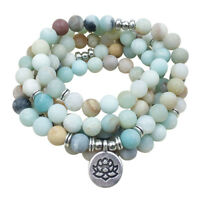 MALA 108 BEAD WRAP BRACELET MATT AMAZONITE MIXED GEMSTONES LOTUS CHARM