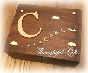 ⭐️Baby Kids Large/ XL Personalised Wooden Memory Keepsake Box Christening Gift
