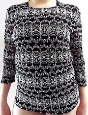 Brittany Black Black & Silver Sparkle 3/4 Sleeve Top Size M Very Stretchy