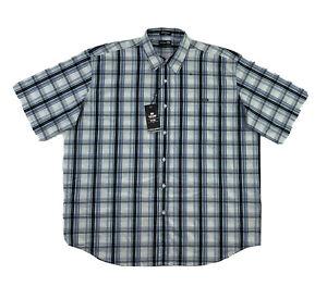 Ecko Unltd Shirt Men's 3XB Short Sleeve Blue Plaid Button Down