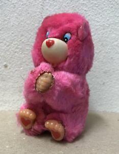 Pink Bear vtg plush Hugger mini toy Clip on 1980's grabber clinger retro animal