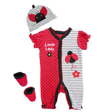 BUSTER BROWN Baby Girl 3 Piece Layette Little Lady Bug Romper Set Outfit
