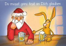 Ansichtskarte: die Sinnkrise: Weihnachtsmann mit Osterhasen bei einem Bier
