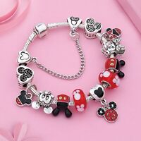 Bracciale Disney con charms minnie mickey tipo simil pandora catena di sicurezza